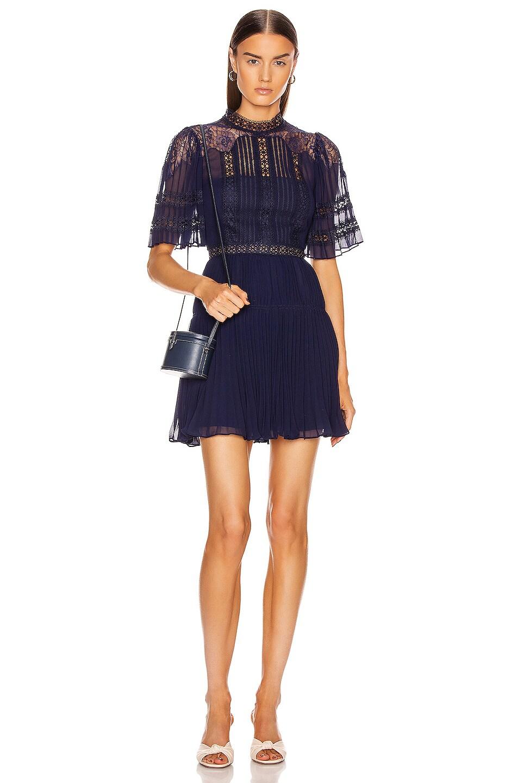 Image 1 of self-portrait Chiffon Lace Panel Mini Dress in Navy