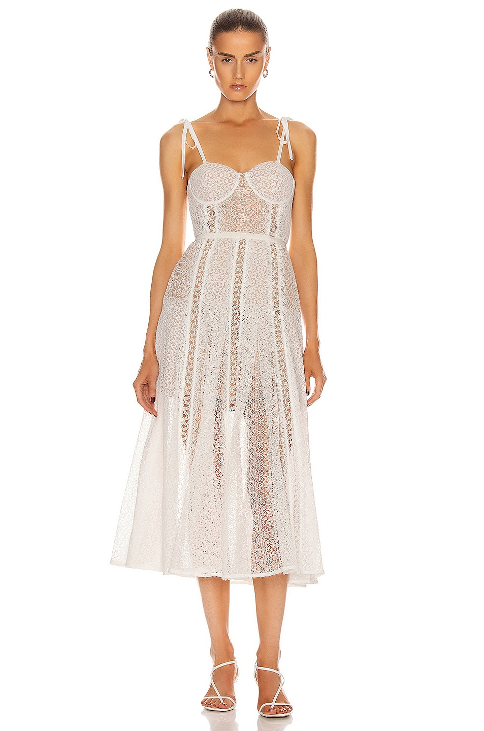 Image 1 of self-portrait Lace Panel Midi Dress in White