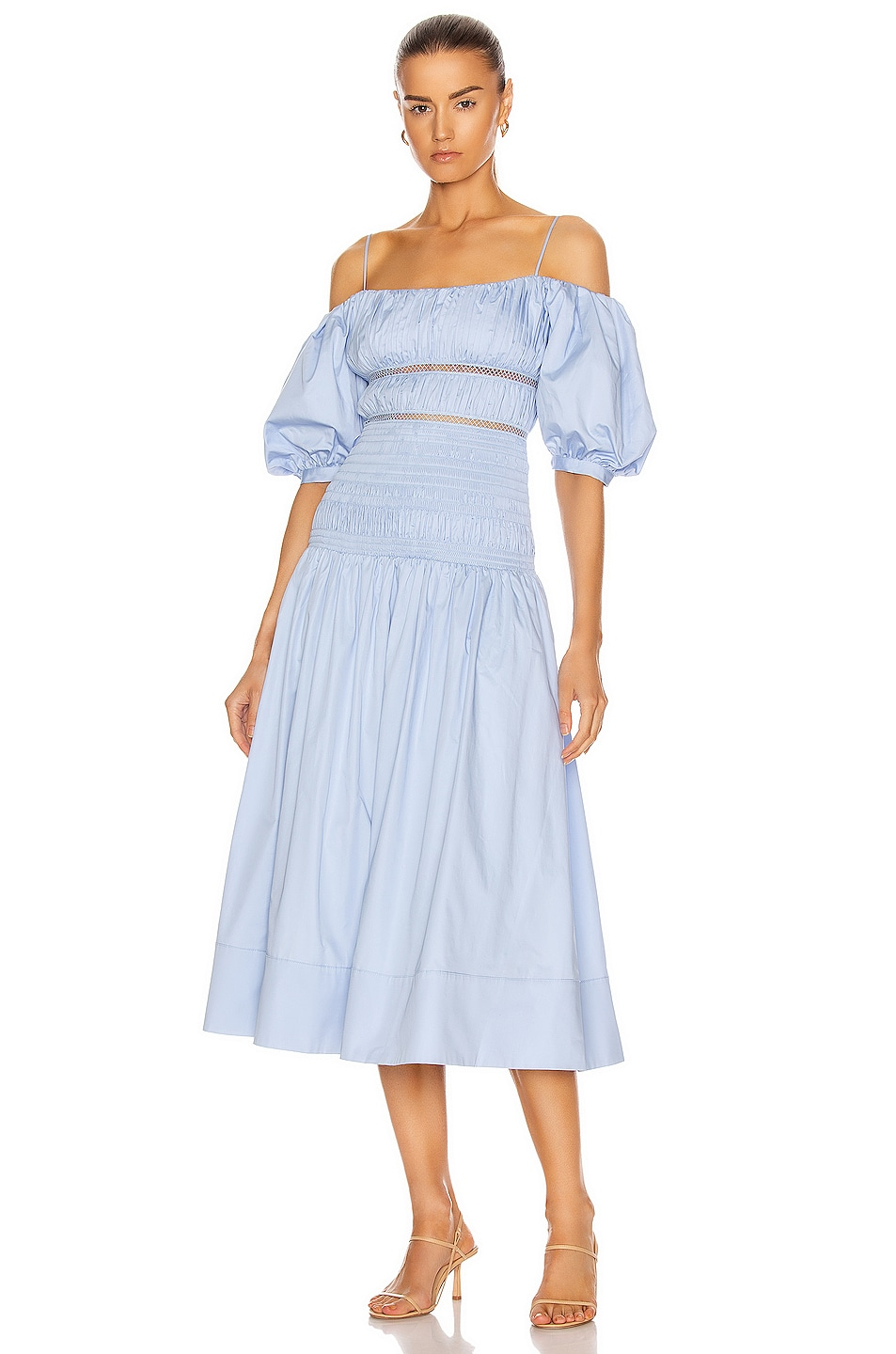Image 1 of self-portrait Cotton Poplin Midi Dress in Light Blue