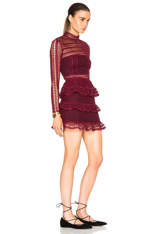 b2bef22aa0109 Image 3 of self-portrait High Neck Paneled Dress in Dark Maroon
