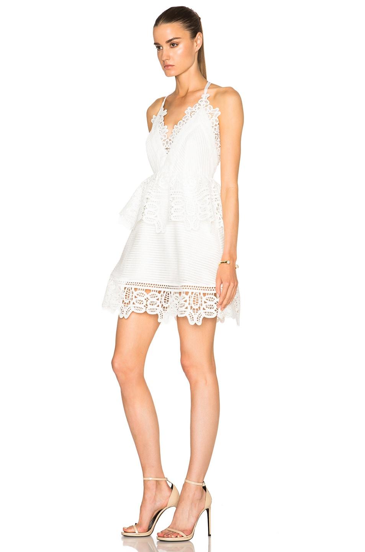 b09ff9986d1de Image 2 of self-portrait Lace Trim Peplum Dress in White