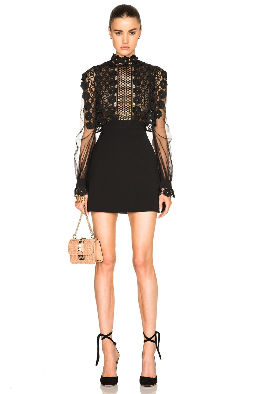Image 1 of self-portrait Balloon Sleeve A Line Mini Dress in Black
