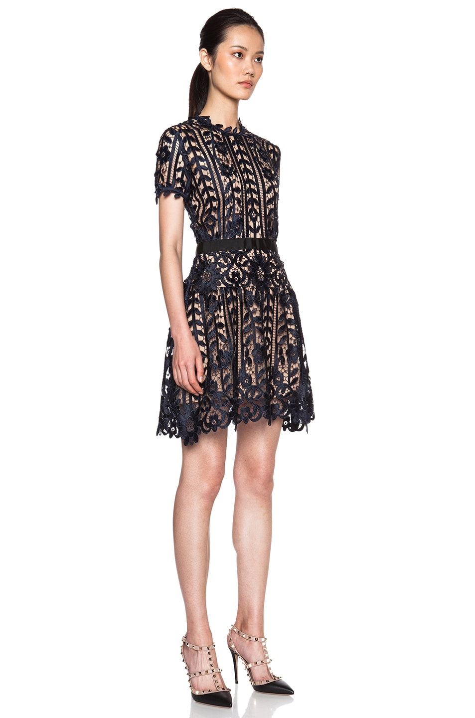 self-portrait Lace A-Line Dress in Navy | FWRD