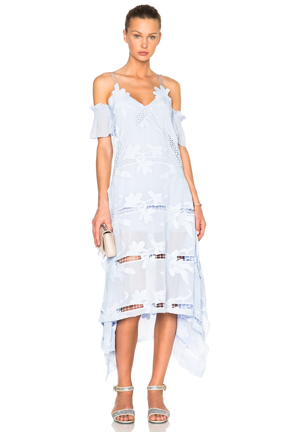 Image 1 of self-portrait Floral Embroidered Midi Dress in Sky Blue
