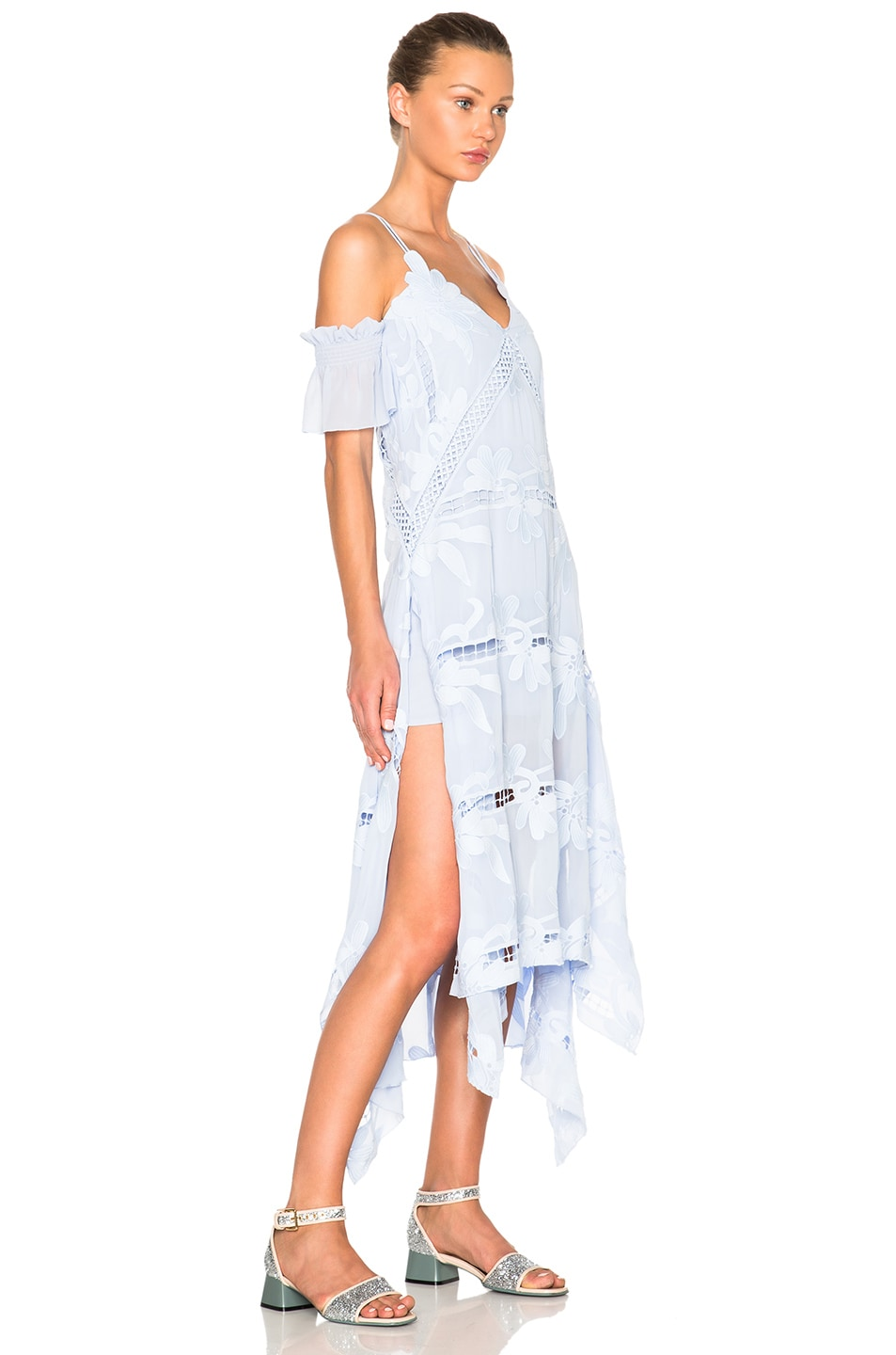 b4b99be01c7a0 Image 3 of self-portrait Floral Embroidered Midi Dress in Sky Blue
