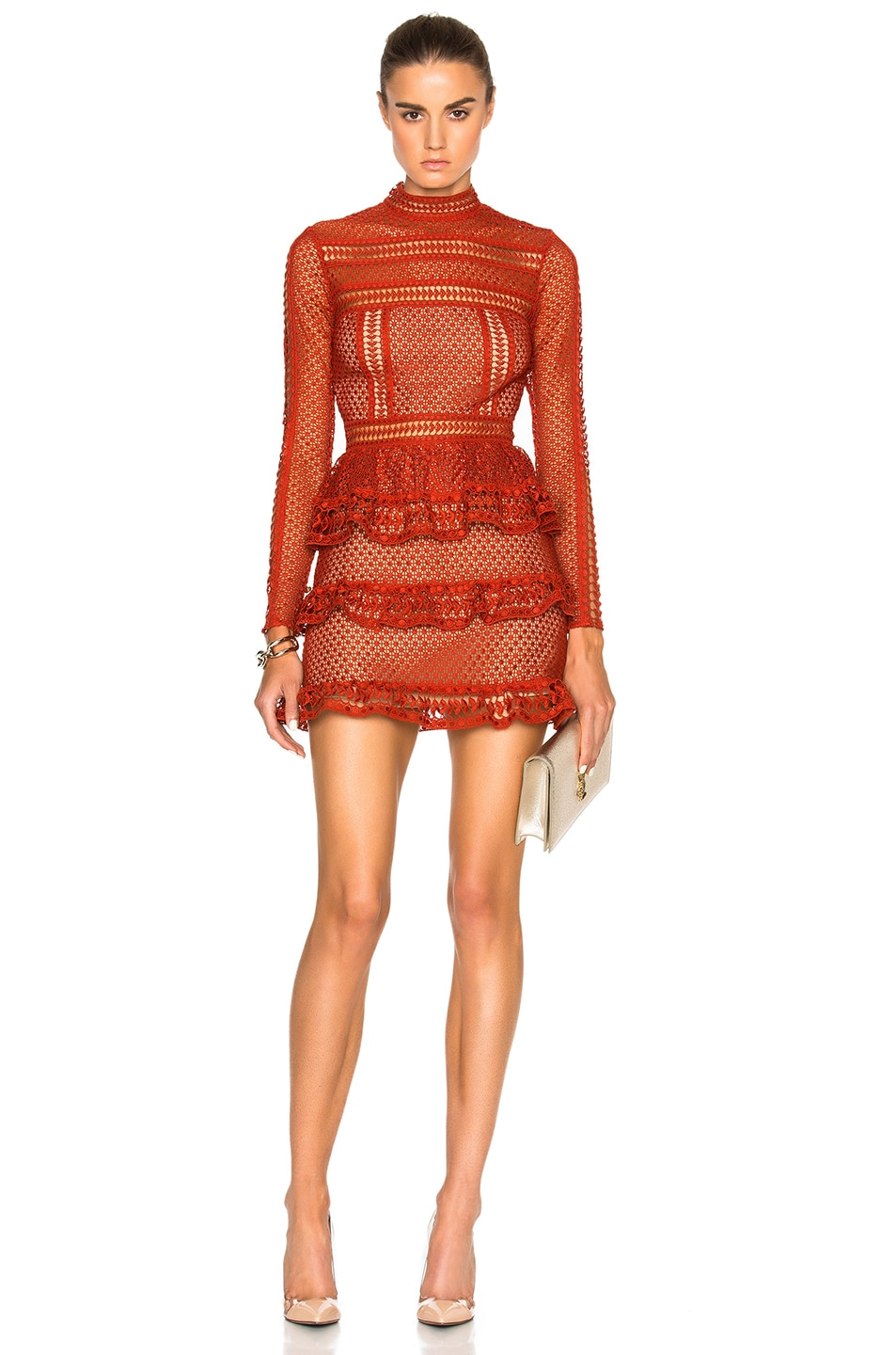 Image 1 of self-portrait High Neck Paneled Dress in Rust