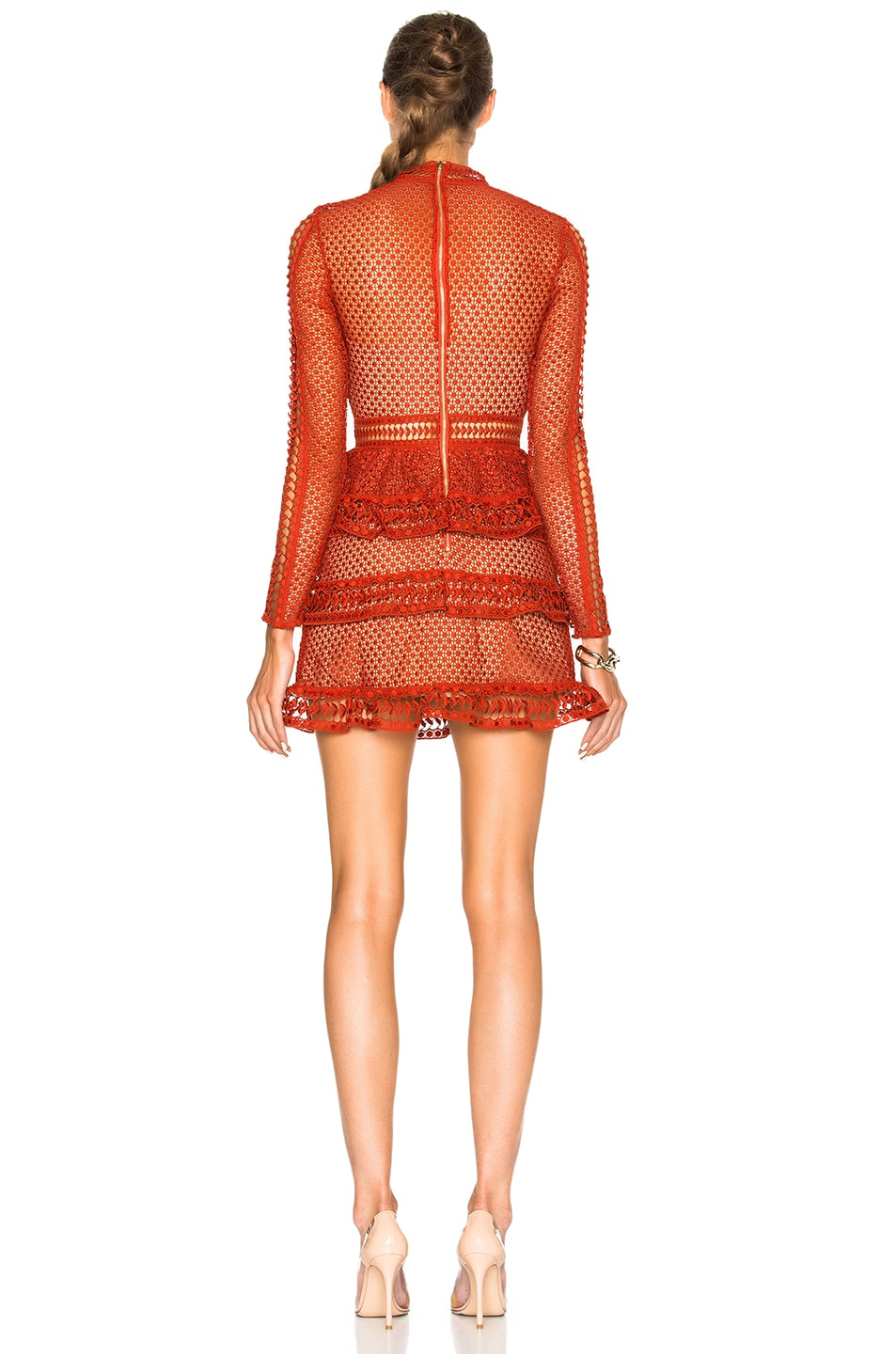 Image 4 of self-portrait High Neck Paneled Dress in Rust