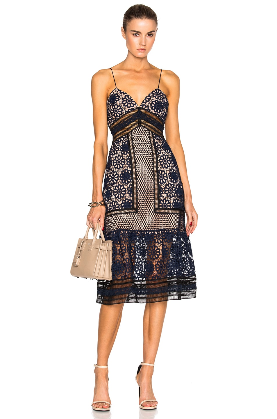 d40ae72a8a4ff Image 1 of self-portrait Strappy Max Dress in Black, Navy & Nude
