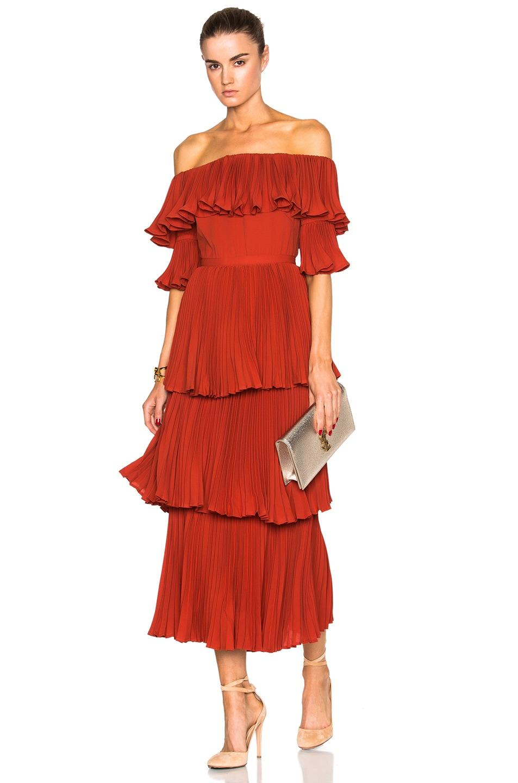 15b31014580f Image 1 of self-portrait Off Shoulder Dress in Crimson Red