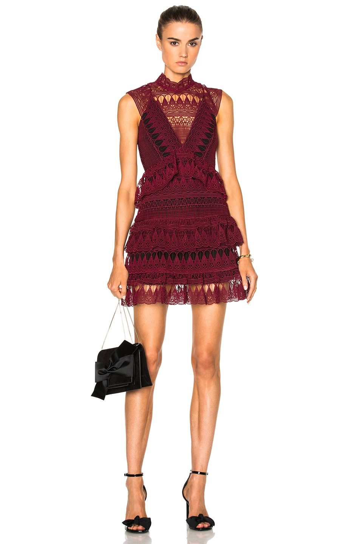 e4c57b7f4b0f3 Image 1 of self-portrait Teardrop Guipere Paneled Mini Dress in Burgundy