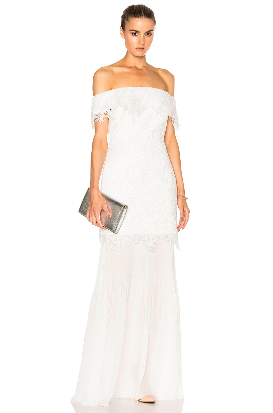 Image 1 of self-portrait Off Shoulder Bridal Dress in White