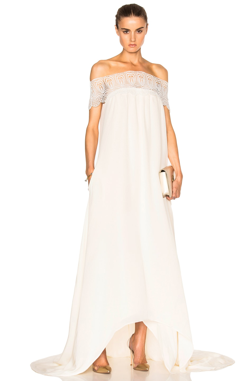 Image 1 of self-portrait Lace Detail Off Shoulder Wedding Dress in Off White