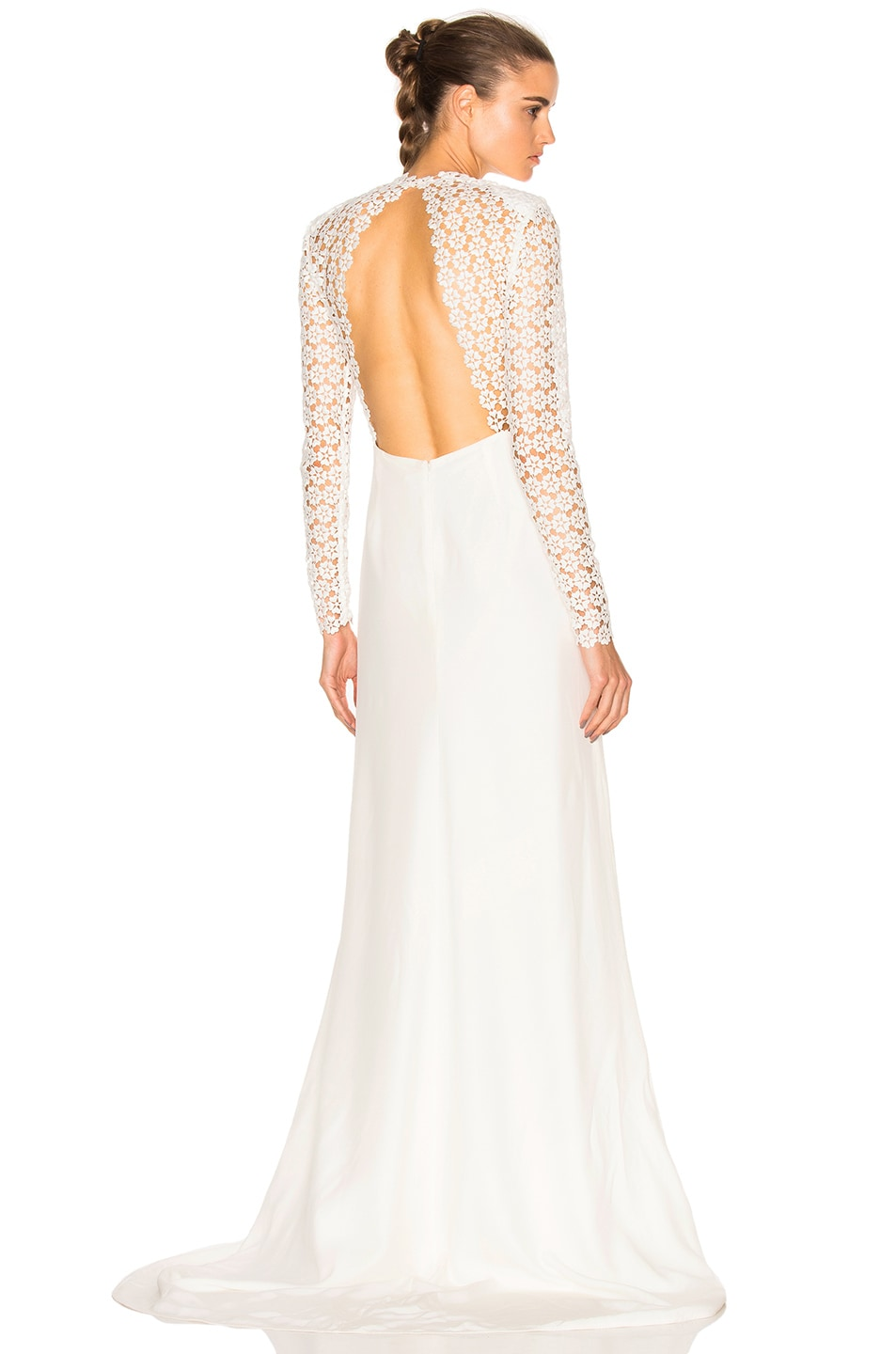 Image 1 of self-portrait Eva Backless Silk Wedding Dress in Off White