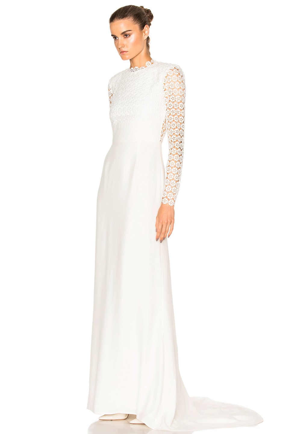Image 3 Of Self Portrait Eva Backless Silk Wedding Dress In Off White