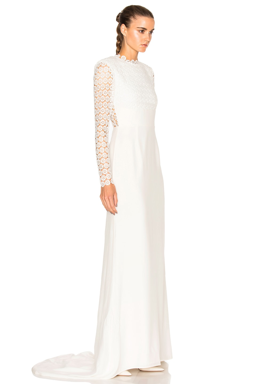 self-portrait Eva Backless Silk Wedding Dress in Off White | FWRD