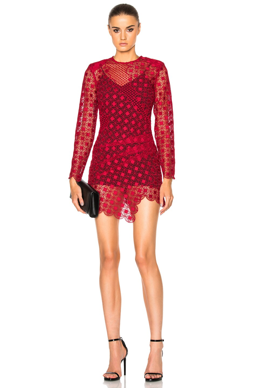 Image 1 of self-portrait Strike Mini Dress in Raspberry Red
