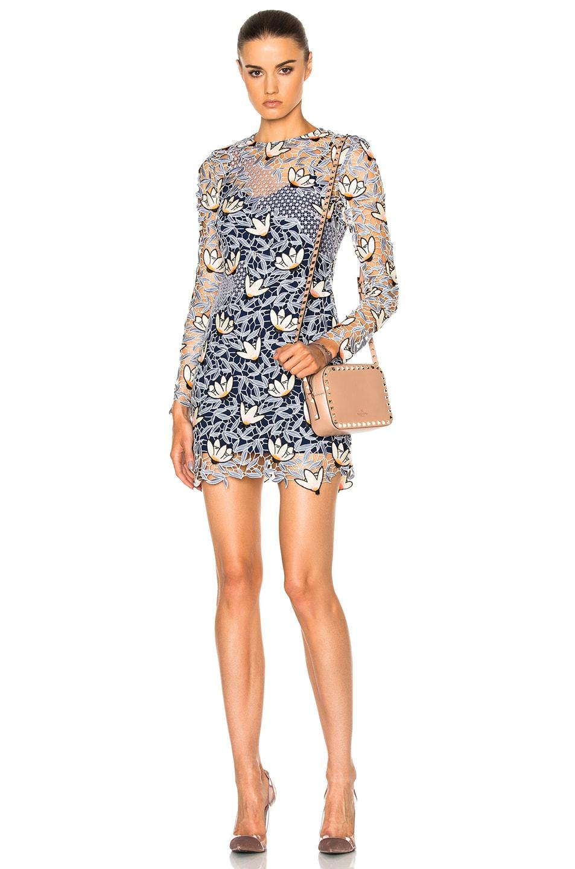 Image 1 of self-portrait Patchwork Mini Dress in Dove Grey