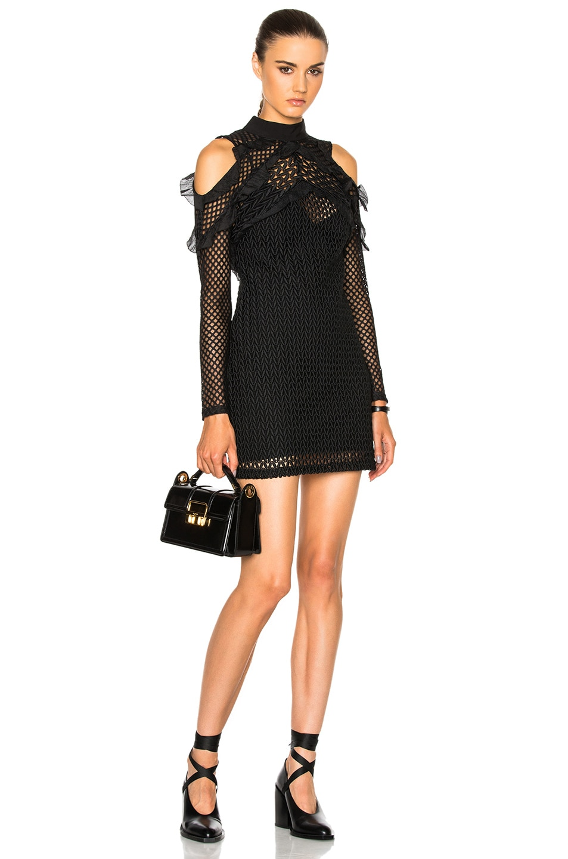 Image 1 of self-portrait Purl Knit Combi Dress in Black