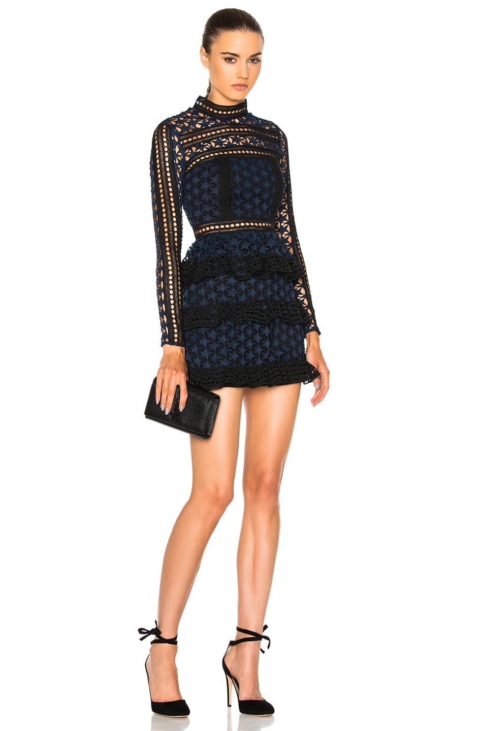 Image 1 of self-portrait High Neck Star Lace Paneled Dress in Navy