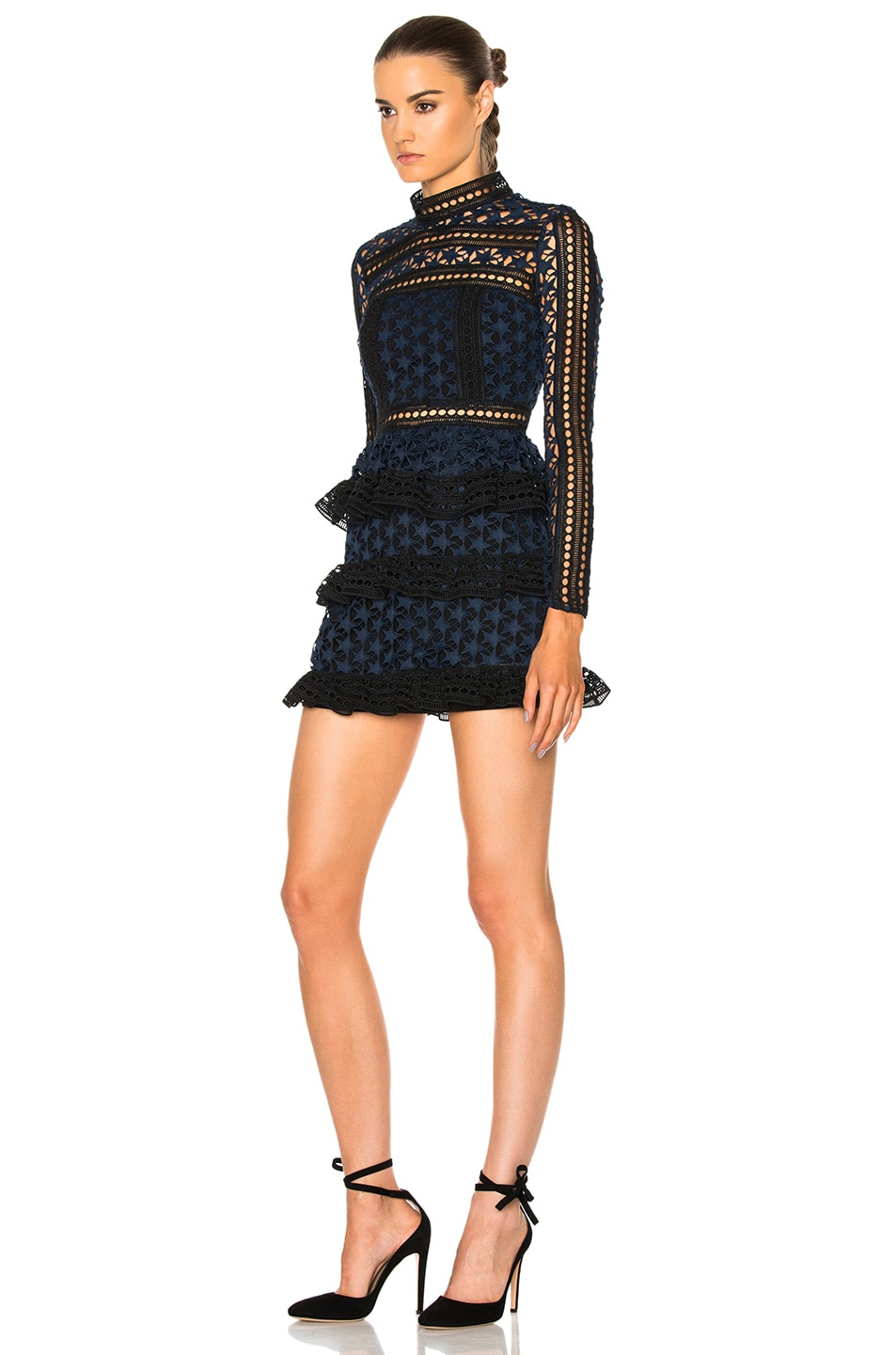 Image 2 of self-portrait High Neck Star Lace Paneled Dress in Navy