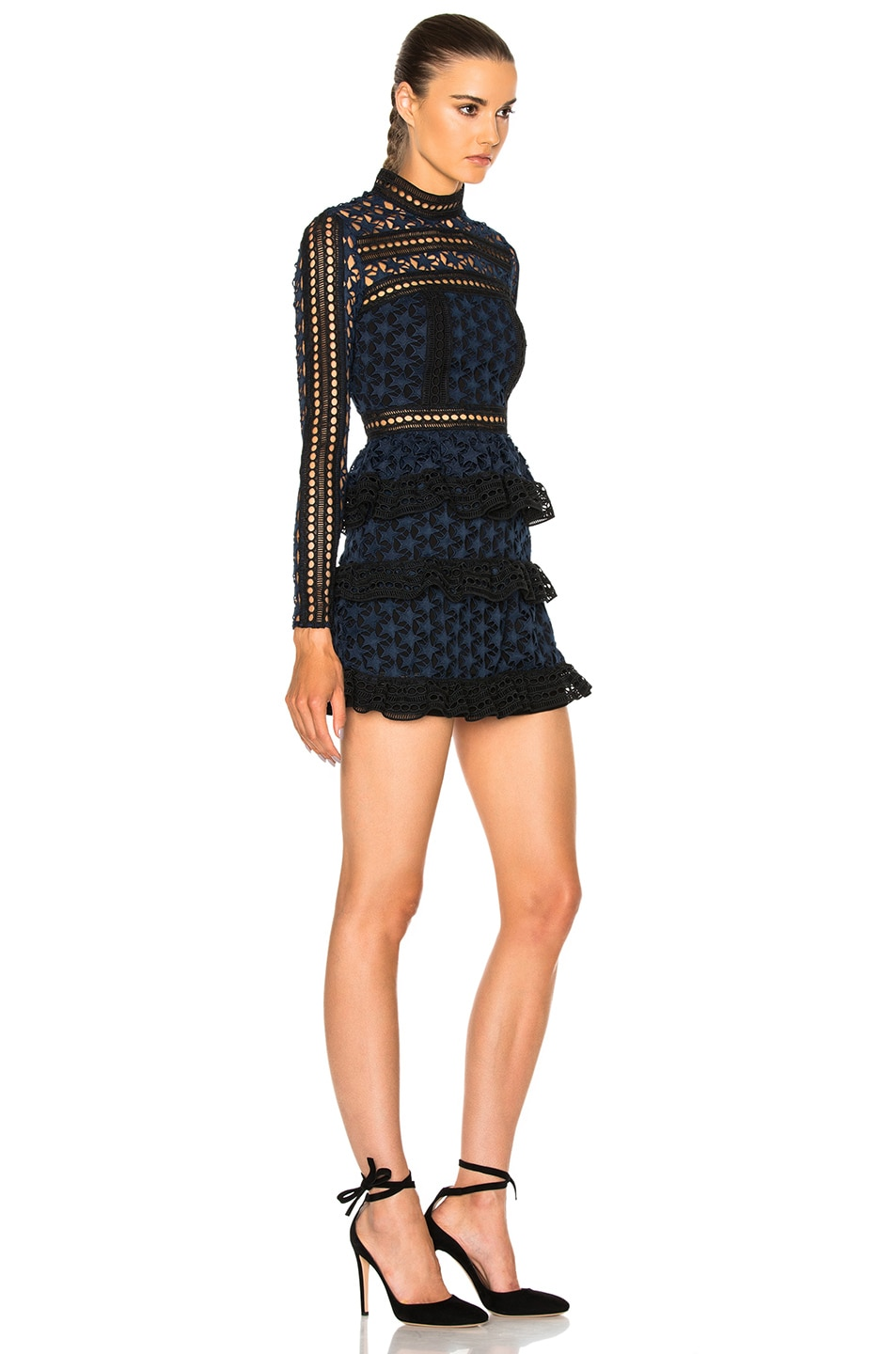 Image 3 of self-portrait High Neck Star Lace Paneled Dress in Navy