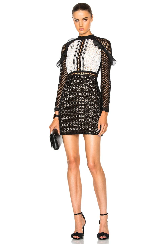 Image 1 of self-portrait Geometric Monochrome Mini Dress in Black