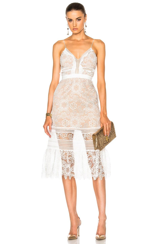 Image 1 of self-portrait Floral Blush Midi Dress in White