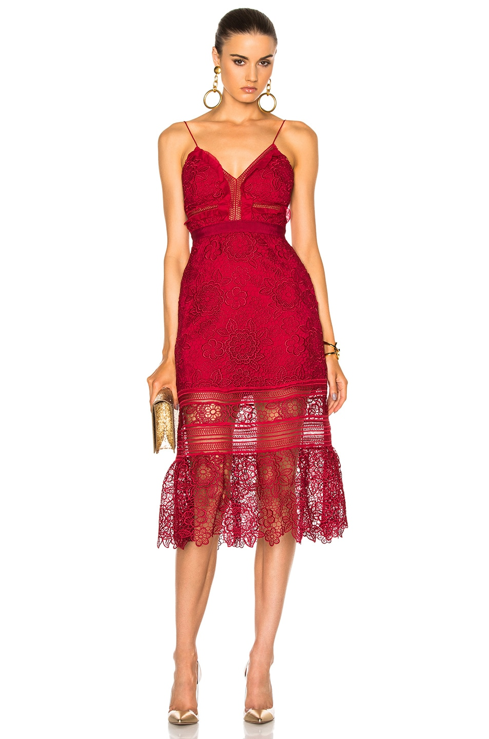 4b1d3e2c74a5 Image 1 of self-portrait Floral Blush Midi Dress in Raspberry Red