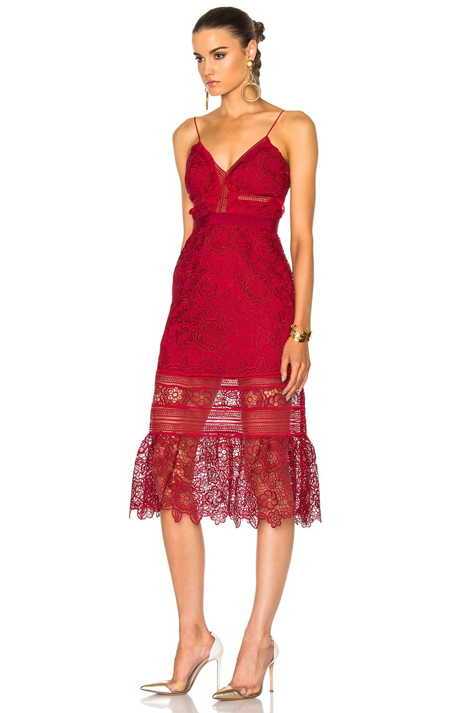 Image 2 of self-portrait Floral Blush Midi Dress in Raspberry Red