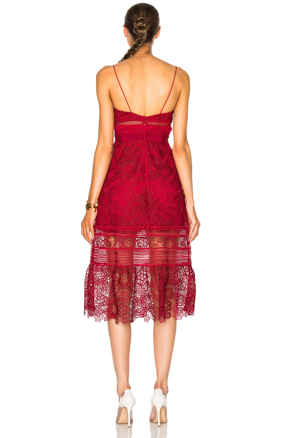 Image 4 of self-portrait Floral Blush Midi Dress in Raspberry Red