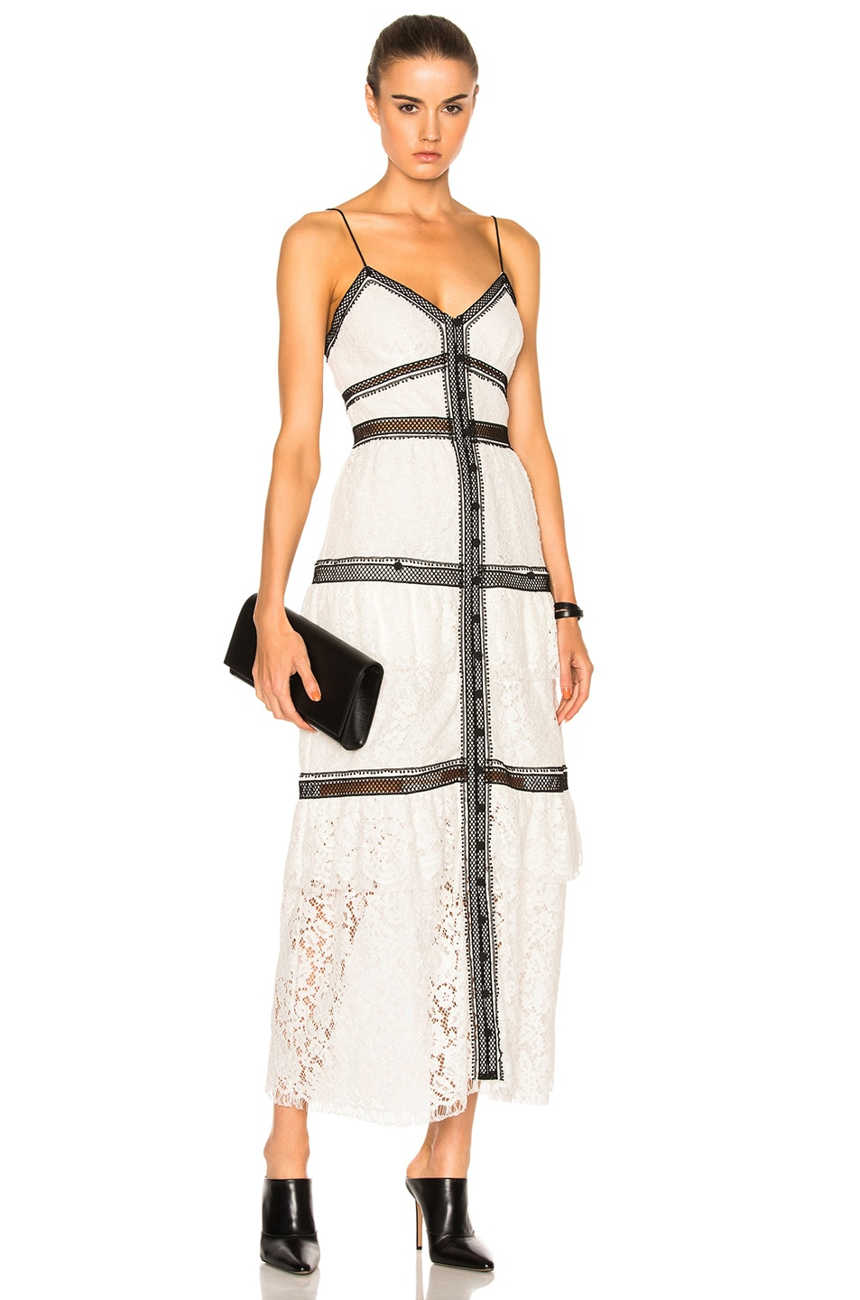 Image 1 of self-portrait Lace Trim Maxi Dress in White