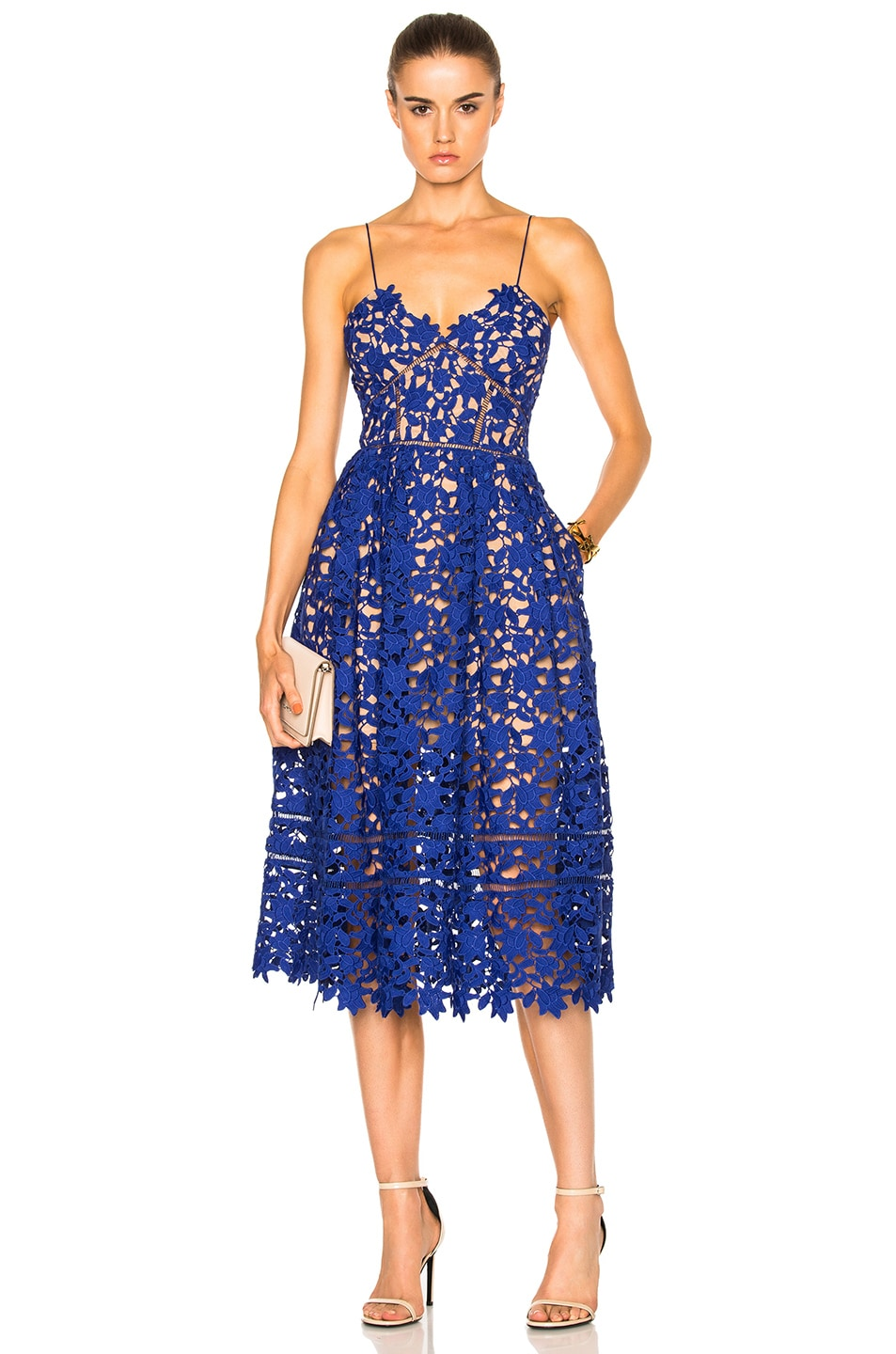 Image 1 of self-portrait Azaelea Dress in Cobalt