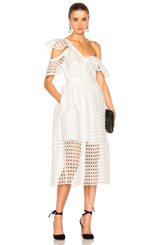 Image 1 of self-portrait Lace Frill Midi Dress in White