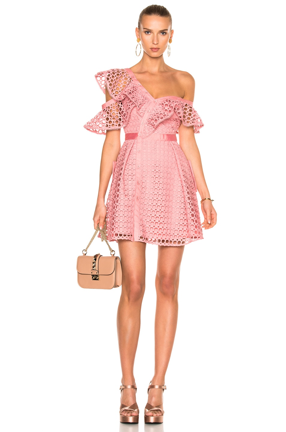 15928c4470 Image 1 of self-portrait Lace Frill Mini Dress in Pink