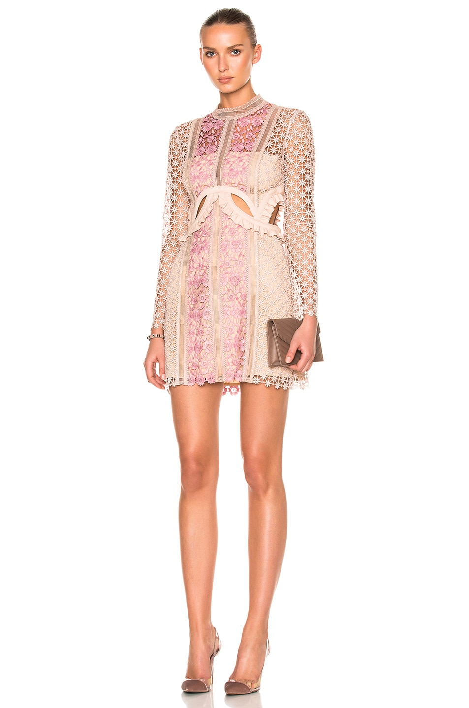 fc3b8bb86eff Image 1 of self-portrait Payne Cut Out Mini Dress in Blush