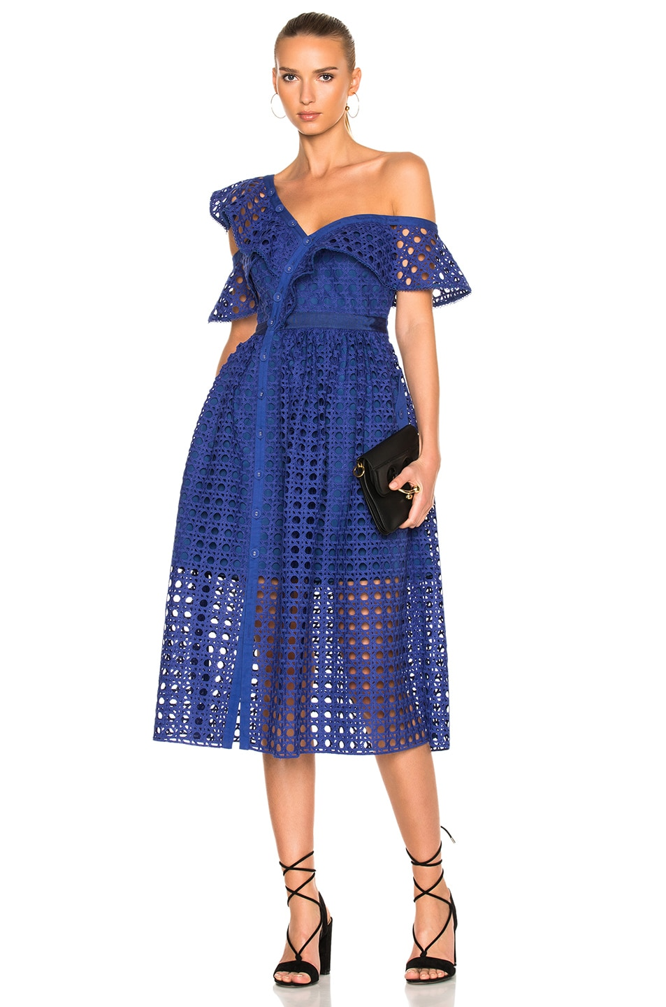 37b7d3835845 Image 1 of self-portrait Guipure Frill Dress in Cobalt Blue