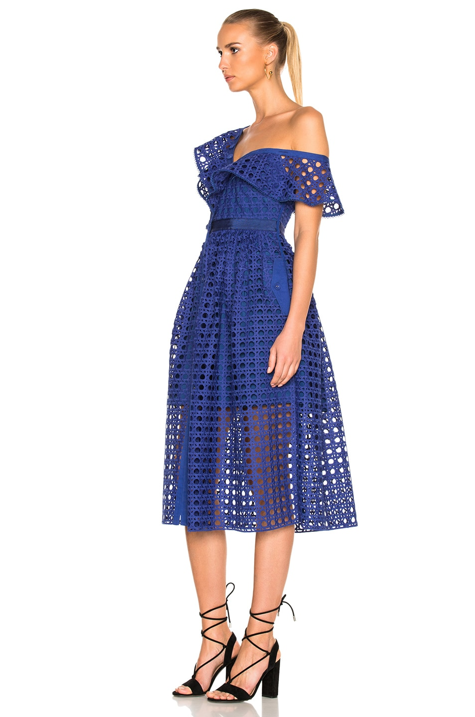 48d2d2881858 Image 2 of self-portrait Guipure Frill Dress in Cobalt Blue