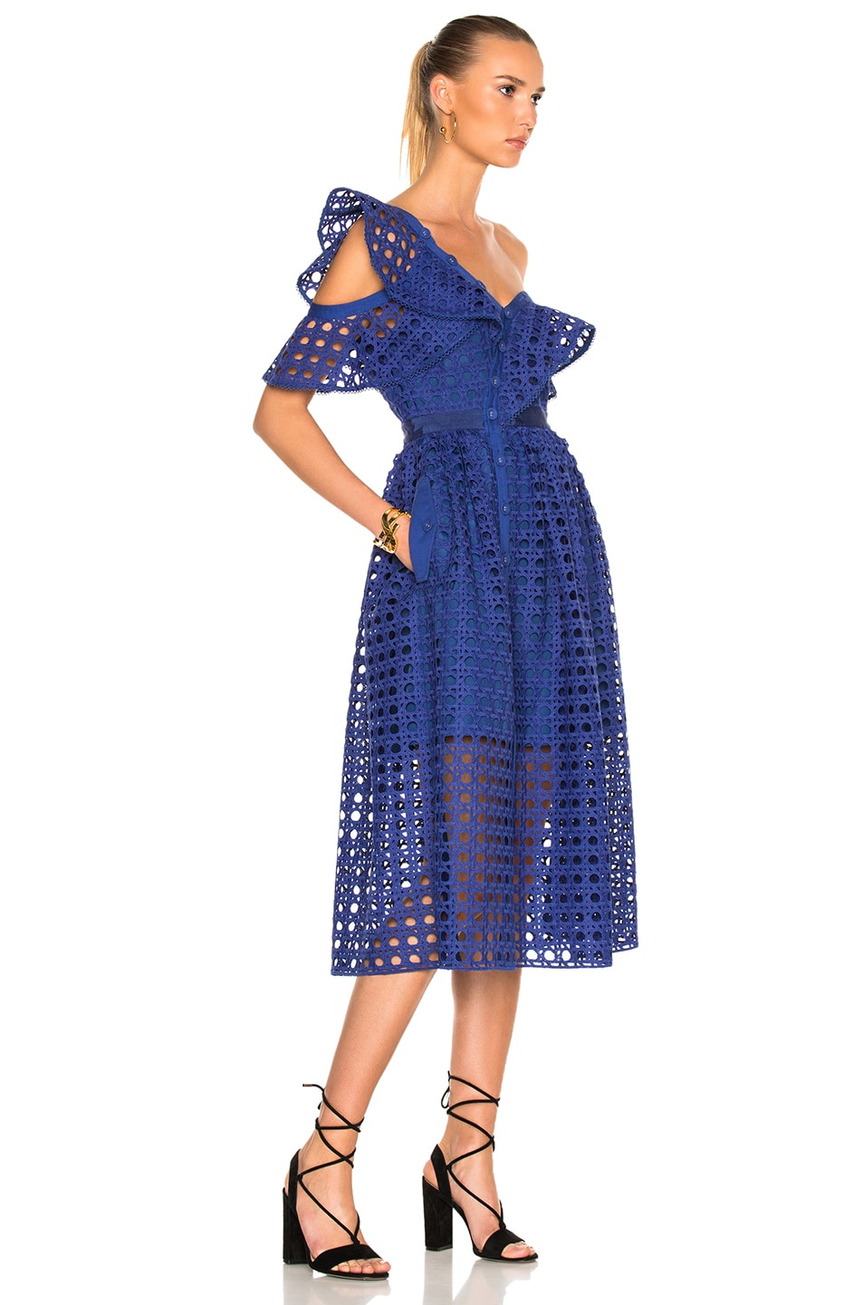 4668ffbda535 Image 3 of self-portrait Guipure Frill Dress in Cobalt Blue