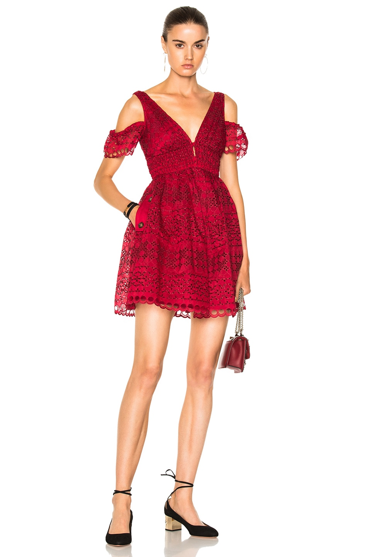 2ef2b131719f Image 1 of self-portrait Sheared Mini Dress in Raspberry Red