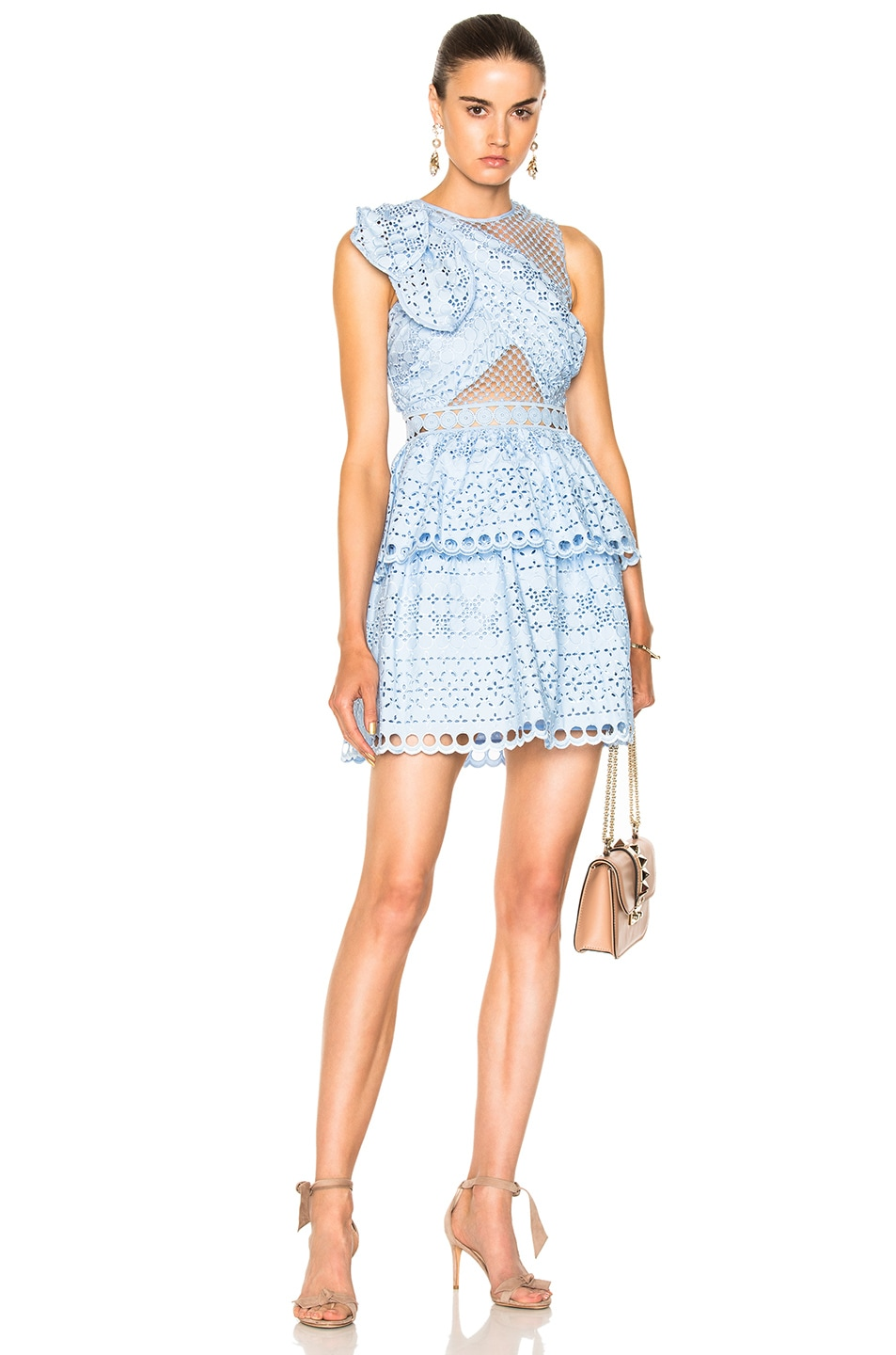 Image 1 of self-portrait Shoulder Knot Mini Dress in Baby Blue