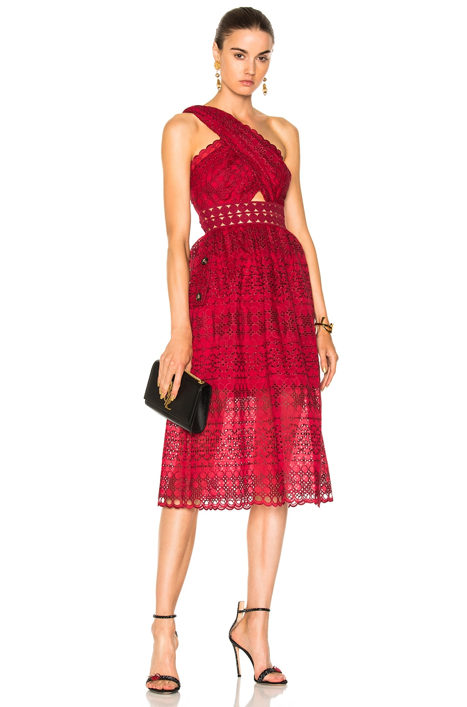 cacf01816f40 Image 1 of self-portrait One Shoulder Cut Out Midi Dress in Raspberry Red