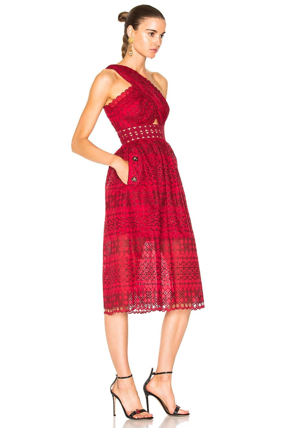 26956bf46a70 Image 2 of self-portrait One Shoulder Cut Out Midi Dress in Raspberry Red