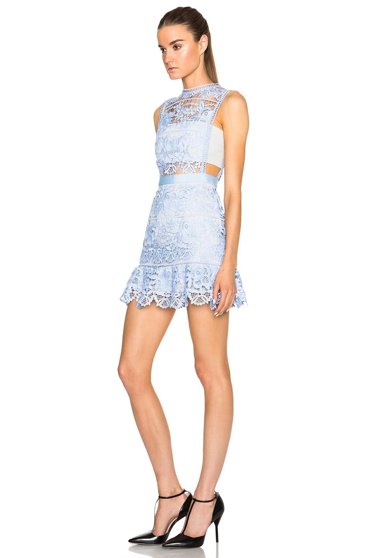 87ec4d79641 Image 2 of self-portrait Lace Peplum Mini Dress in Pale Blue