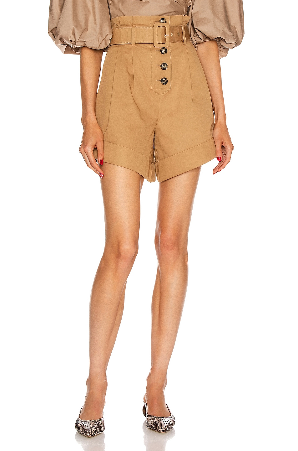 Image 1 of self-portrait Canvas Turn Up Shorts in Camel