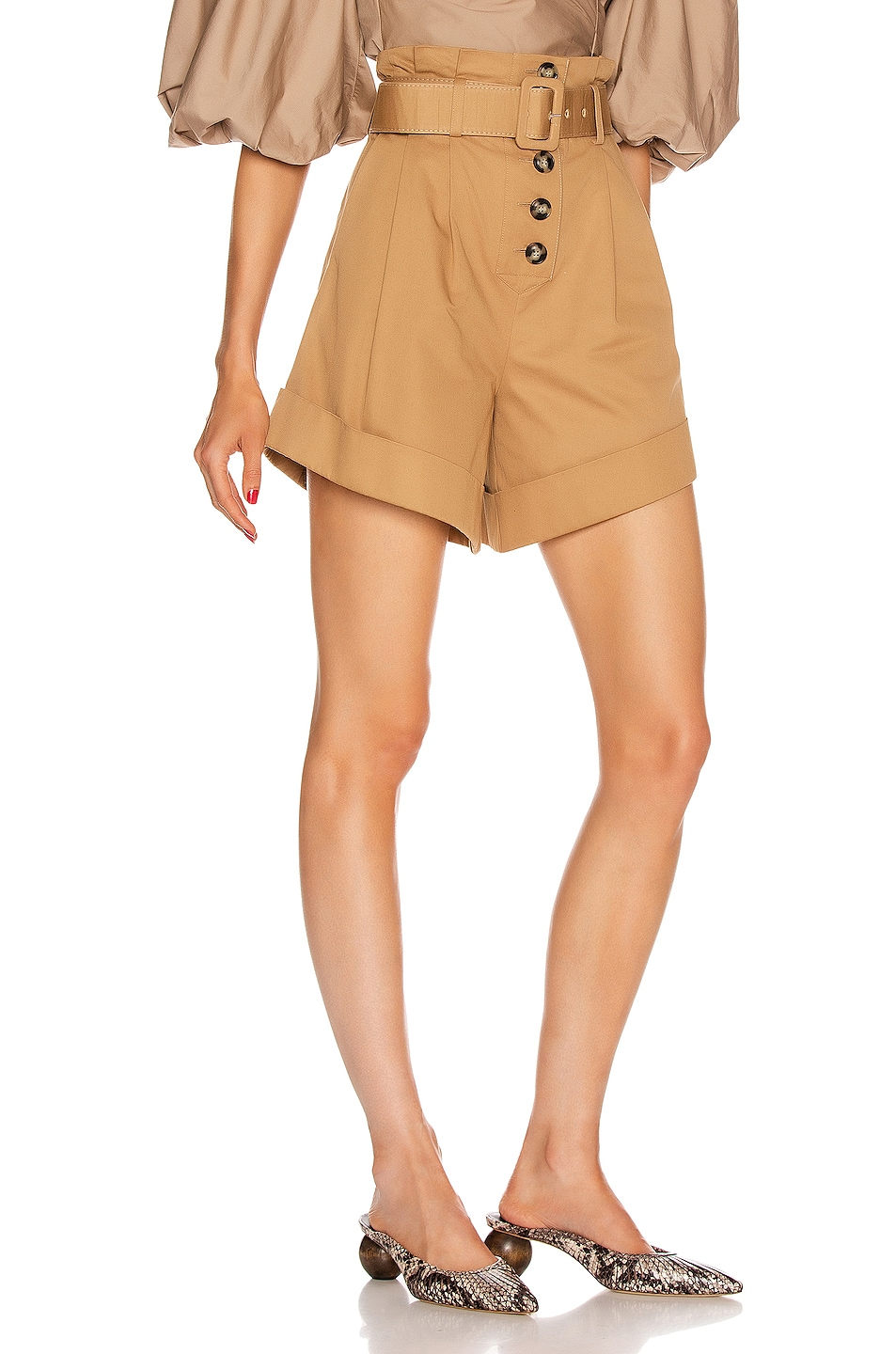 Image 2 of self-portrait Canvas Turn Up Shorts in Camel