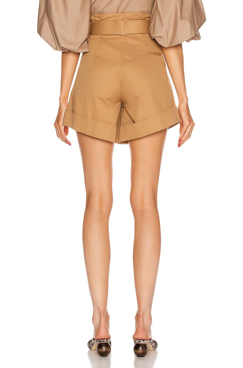 Image 3 of self-portrait Canvas Turn Up Shorts in Camel