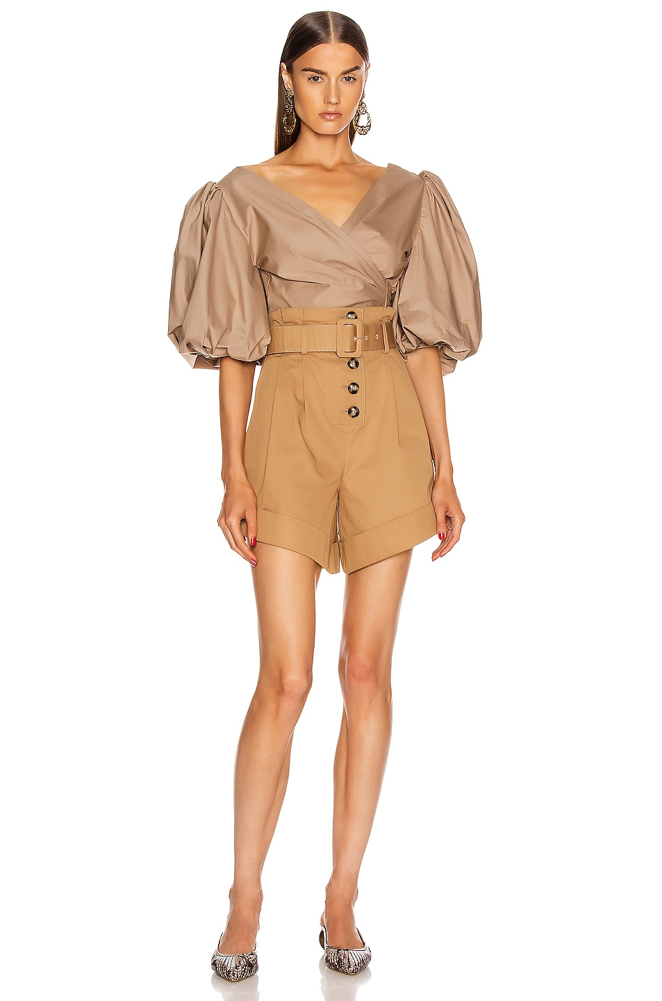 Image 4 of self-portrait Canvas Turn Up Shorts in Camel