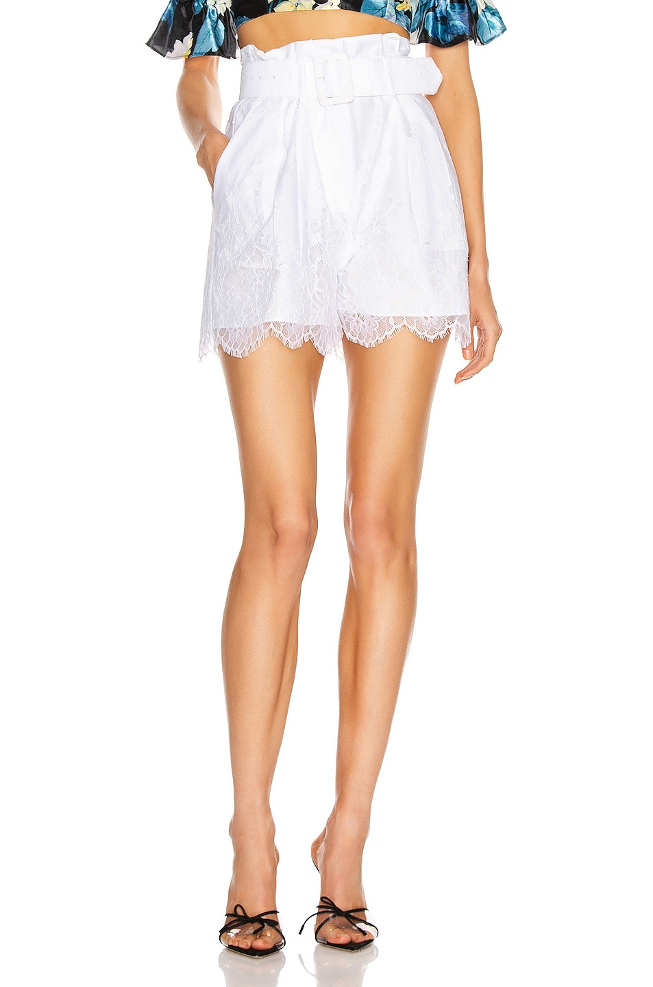 Image 1 of self-portrait Lace Shorts in White