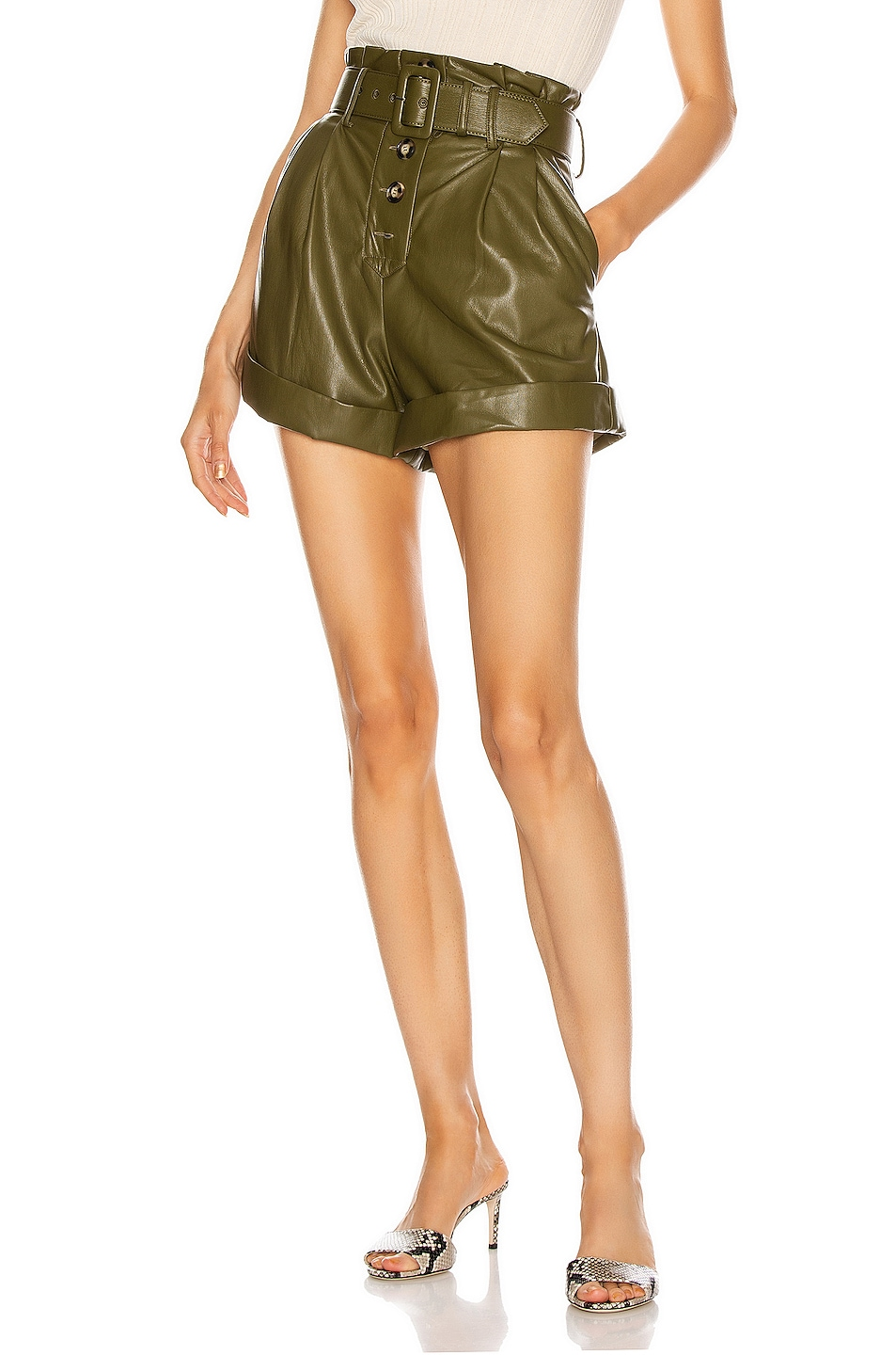 Image 1 of self-portrait Faux Leather Shorts in Olive Green