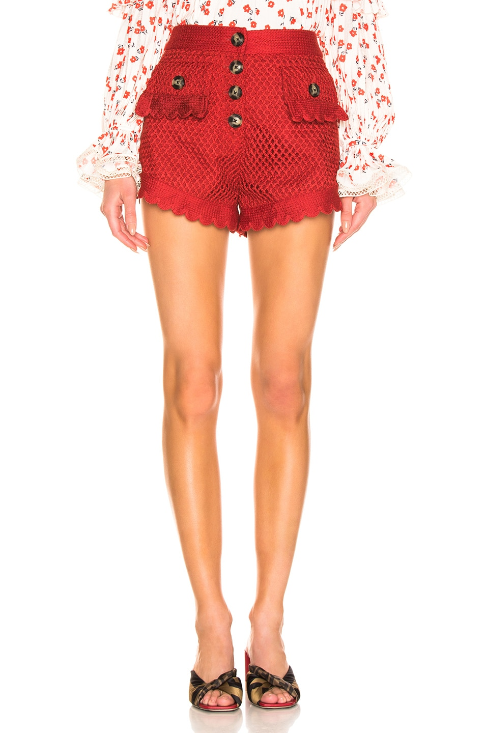 Image 1 of self-portrait Crochet Lace Shorts in Rust
